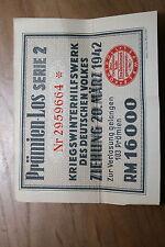 billet loterie kriegswinterhilfswerk Alsace WW II 1942