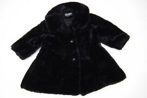 FROST BITE Girls Black Fully Lined FAUX FUR Swing Coat. AGE 3-4 YEAR