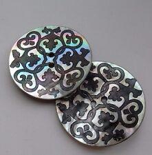 2 Botones de cáscara Iridiscente Estampada. 37mm. Artesanía Coser// fabricación de joyas