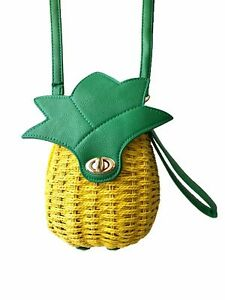 Get Racy Rattan Pineapple Bag in Yellow Green