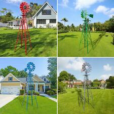 8ft Ornamental Decor Garden Windmill Weather Vane- Galvanized Outdoor Yard Park