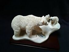 Resin Polar Bear Teaching Cubs to Fish Figurine on a Base ~Absolutely Beautiful