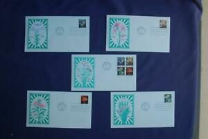 Four Flowers ND (34c) Stamps 5 FDCs Artmaster Cachets Sc#3454-3457 12930 Freesia