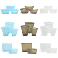 3PCS Reusable Silicone Food Storage Bags Zip Top Leak-proof Containers Stand Up