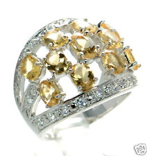 Solid 925 Sterling Silver Oval Genuine Citrine Dome Ring Size-6 '