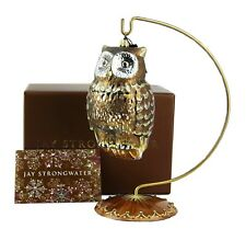 JAY STRONGWATER GILDED OWL LARGE GLASS CHRISTMAS ORNAMENT NEW BOX