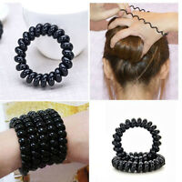 5x Durable Hot Black Elastic Extendable Girls Rubber Telephone Wire Hair Ties