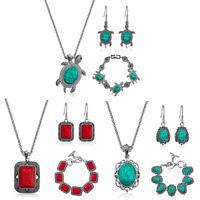 Fashion Elegant Turquoise Jewelry Set Women's Necklace Bracelet Earrings Set
