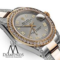Ladies 26mm Rolex Oyster Perpetual Datejust Custom set Diamond Grey Roman Dial