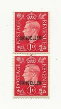 GREAT BRITAIN KGVI 1 d Red Stamp PAIR Mint Hinged CANCELLED OVERPRINT