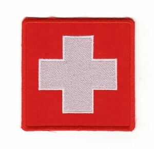 Army Tactical Medical Medic First Aid Patch White Cross Paramedic Red Color