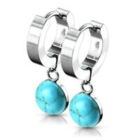 Turquoise Huggie Hoop Drop Earrings Surgical Steel Hypoallergenic
