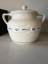Longabeger Bean Pot Crock Covered Woven traditions  Blue cookie jar
