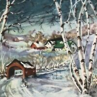 Vintage Early Mid Century Christmas Greeting Card Birch Trees Covered Bridge