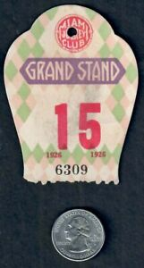 1926 MIAMI JOCKEY CLUB HIALEAH PARK GRAND STAND HORSE RACING ADMISSION TICKET!!