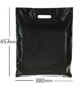 "Black Plastic Carrier Bag-Extra Strong375mm x 450mm x 75mu (15"" x 18"" 300gauge)"
