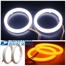 Pair Car Headlight Retrofit Switchback LED Halo Ring Angel Eyes 60mm White&Amber