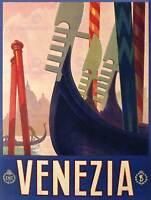 TRAVEL TOURISM VENICE ITALY GONDOLA CANAL CHURCH CITY ART PRINT POSTERBB7682B