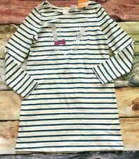 Gymboree 10 12 Bunny Face Dress Teal Striped Fleece Dress Silver Pink NWT Easter
