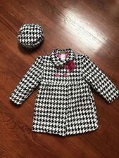 Penelope Mack Black WHite Pink Houndstooth Jacket Sz 4 With Matching Hat Easter