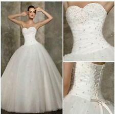 New White /Ivory Wedding Dress Ball Prom Bridal Gown Size 6-18 UK