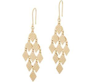 Diamond Cut Diamond Shaped Chandelier Dangle Earrings  REAL 14K Yellow Gold QVC
