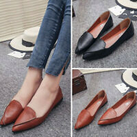 US Women Flat Shoes Pointed Toe Loafers Leather Causal Slip-on Dress Ballet Boat