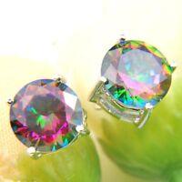 Classic Round Rainbow Mystic Topaz Cubic Zirconia Silver Stud Dangle Earrings