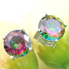 Classic Round Rainbow Mystic Topaz Cubic Zirconia Silver Stud Dangle Earrings