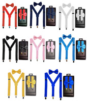 KIDS TODDLER CHILD SUSPENDERS and BOW TIE MATCHING BOXED GIFT SET Tuxedo Party