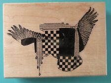 Abstract Collage ARTIFACTS BY STAMPS ETCETERA Rubber Stamp Wings Checkered