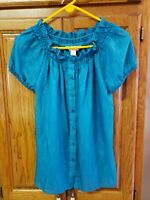 CJ BANKS Green PLUS SS Crinkle Button Shirt Blouse Top. Med