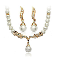 Imitation Pearl Bead Drop Necklace Pierced Pearl Drop Earrings Jewellery Set S61