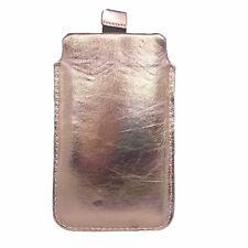 Hülle ECHTLEDER Gold Tasche für iPhone SE 5 Xperia P Samsung Wave Star Gio Nokia