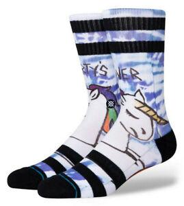 STANCE Party's Over Crew Socks sz L Large (9-12) White Blue Rainbow Unicorn