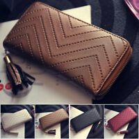 Women Long Purse Ladies Zip Leather Clutch Coin Phone Bag Wallet Card Holder