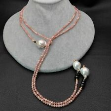 H072512 19/'/' 3 Strands White Pearl Necklace CZ Clasp