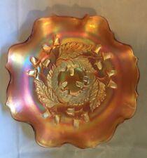 "Vintage FENTON Carnival glass Ruffled Rim Bowl ACORN Pattern 7 1/2"""