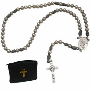 Military Grade Paracord Silver Rosary Handmade Silver Plated Steel Beads 6mm