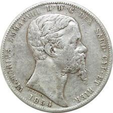 P3375 Scarce Italy Casa Savoia 5 Lire Vittorio Emanuele II 1854 Genova Silver