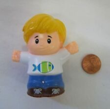 Fisher Price Little People BLONDE BOY w/ FISH SHIRT for SCHOOL Son Brother