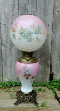 Antique Glass Gone With the Wind Table Lamp Pink/Blue/Green Hand Painted Flowers