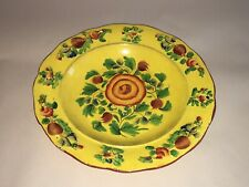 Staffordshire Canary Yellow Plate Enamel Floral Flower Decoration 1815