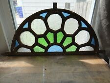 Antique Architectural Stained Glass Arched Window w Cast Iron Frame -Half Round