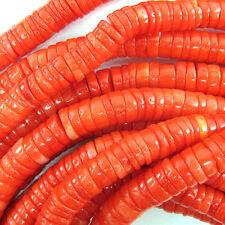 "6-7mm orange coral heishi beads 15.5"" strand"