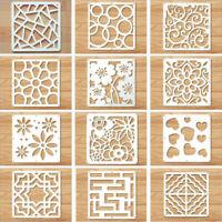 12Pcs White Hanging Screen Divider Wood-Plastic Panels Partition DIY Home Decor