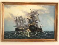 Galleon Oil Painting After Battle Of Trafalgar Seascape Marine Nautical Ships