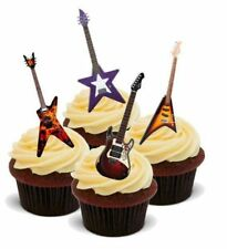 Novelty ROCK GUITAR PARTY MIX 12 STAND UP Edible Cake Toppers Dad Son Birthday