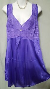 """Amourseuse Purple Babydoll Nightgown Sexy Stretch Sleeveless Plus 5X 68"""" BUST"""