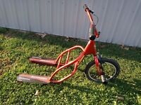 VINTAGE RARE SCHWINN GLADIATOR FS 2-FOOT 3-WHEEL SCOOTER BIKE NO REAR WHEELS RED